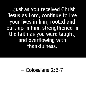 just as you received Christ Jesus as Lord, continue to live your lives in him, rooted and built up in him, strengthened in the faith as you were taught, and overflowing with thankfulness. Colossians 2:6-7